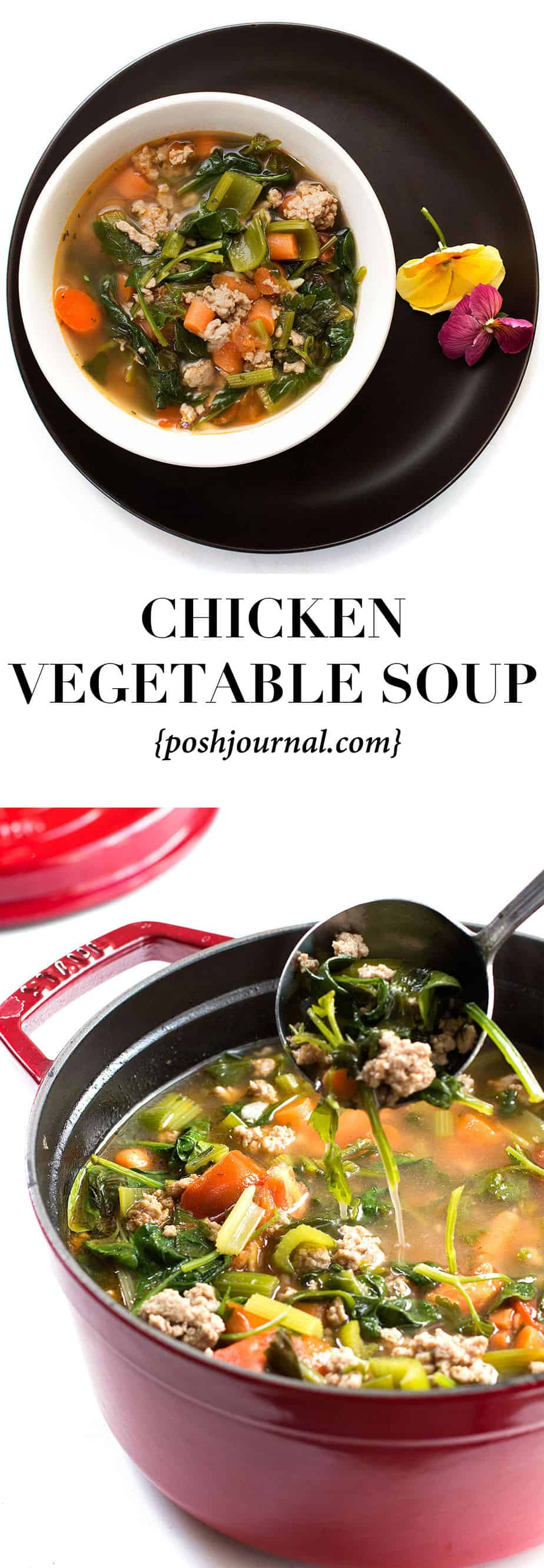 chicken vegetable soup. Quick soup recipe, comfort food, ready in less than 1 hour. The ground chicken seasoned perfectly with homemade poultry seasoning. Healthy and flavorful broth made of fresh ingredients : celery, carrots, spinach