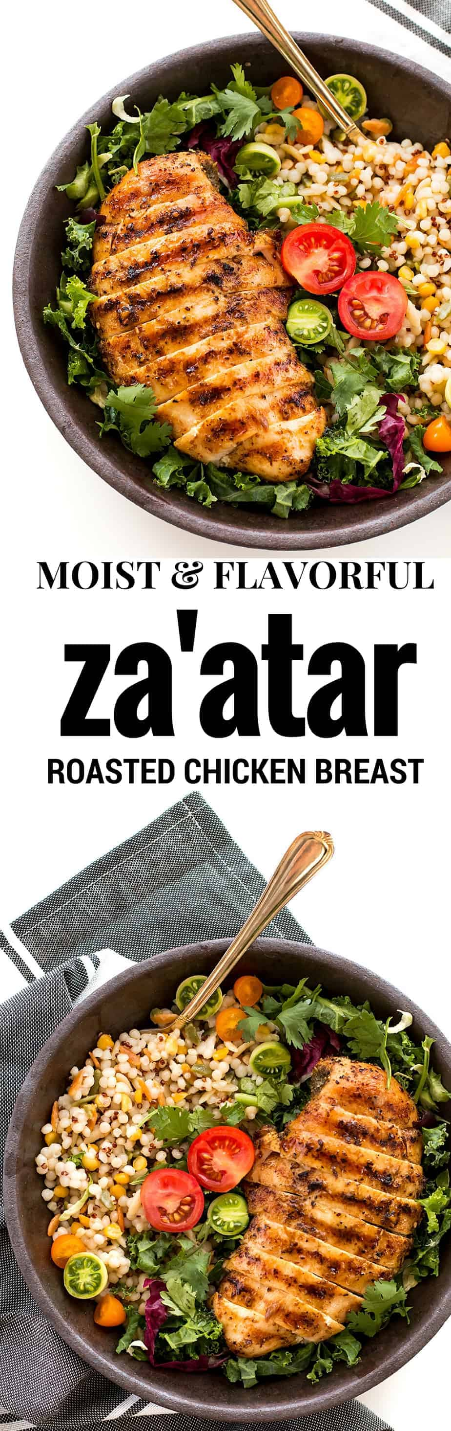 zaatar roasted chicken breast. Easy mediterranean inspired chicken recipe! Za'atar is a traditional mediterranean spice mix, which containing a combination of thyme, sesame seed, sumac (a tart and tangy spice made from ground sumac berries) and salt.