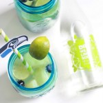 Super Bowl Sangria recipe with fresh melon and blueberries and lime