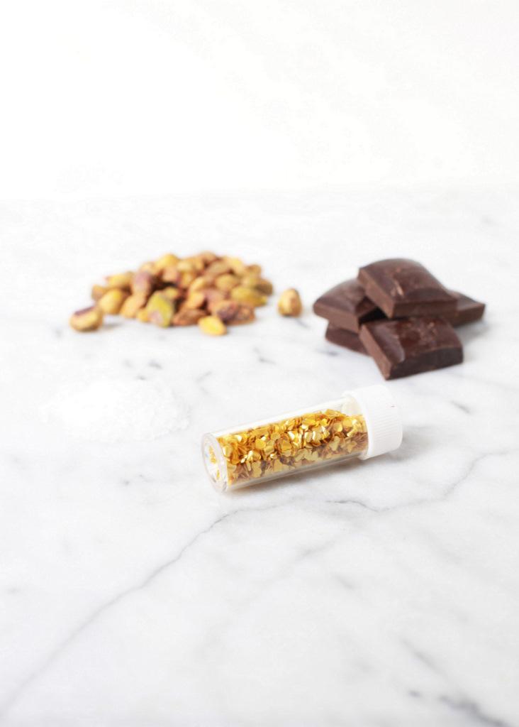 Sea Salt & Pisatchio Dark Chocolate Shamrocks | Posh Little Designs