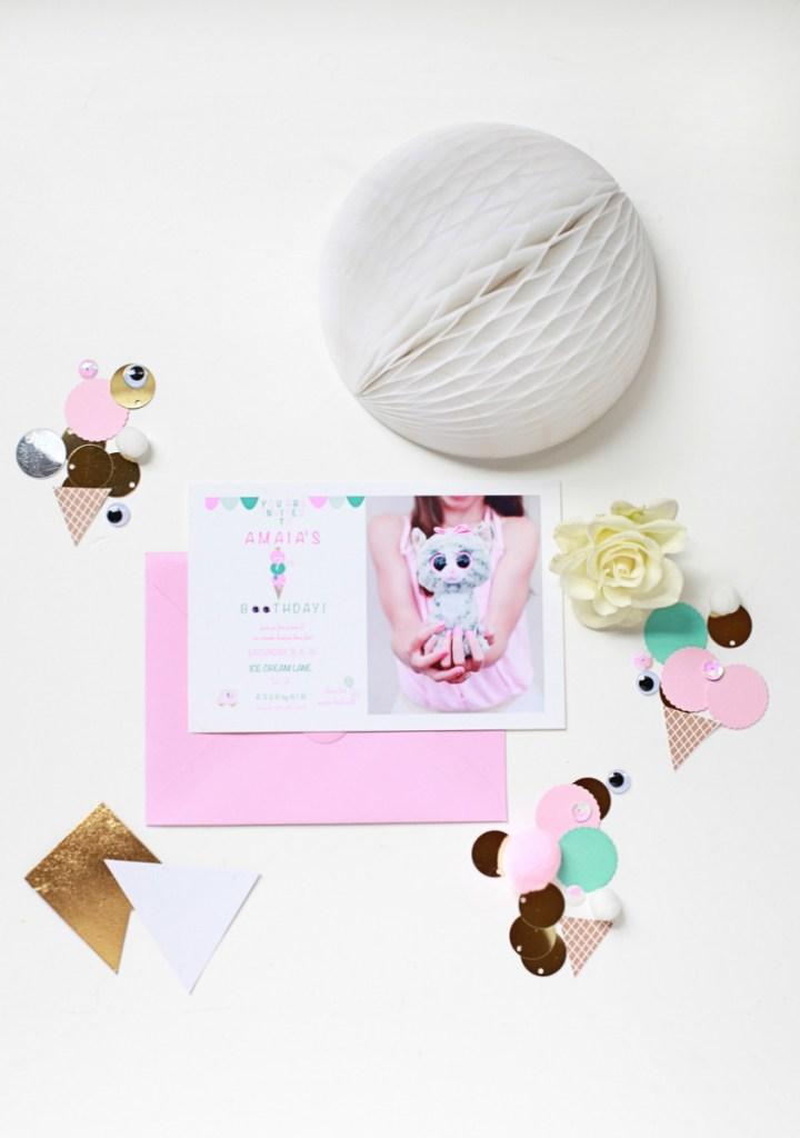 7th Birthday Invites – Ice Cream + Beanie Boo