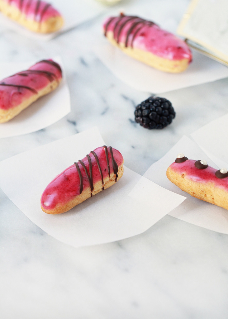 Mini Blackberry Eclairs