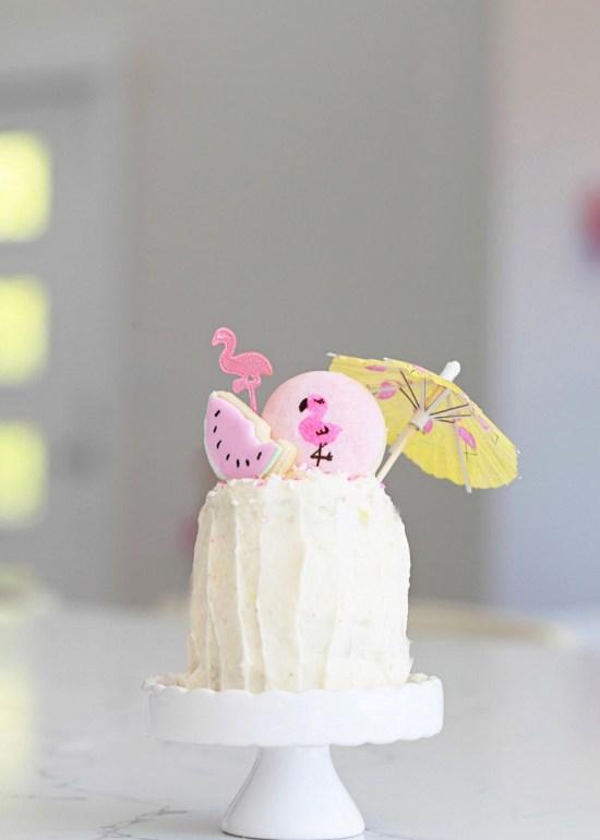 mini flamingo birthday cake
