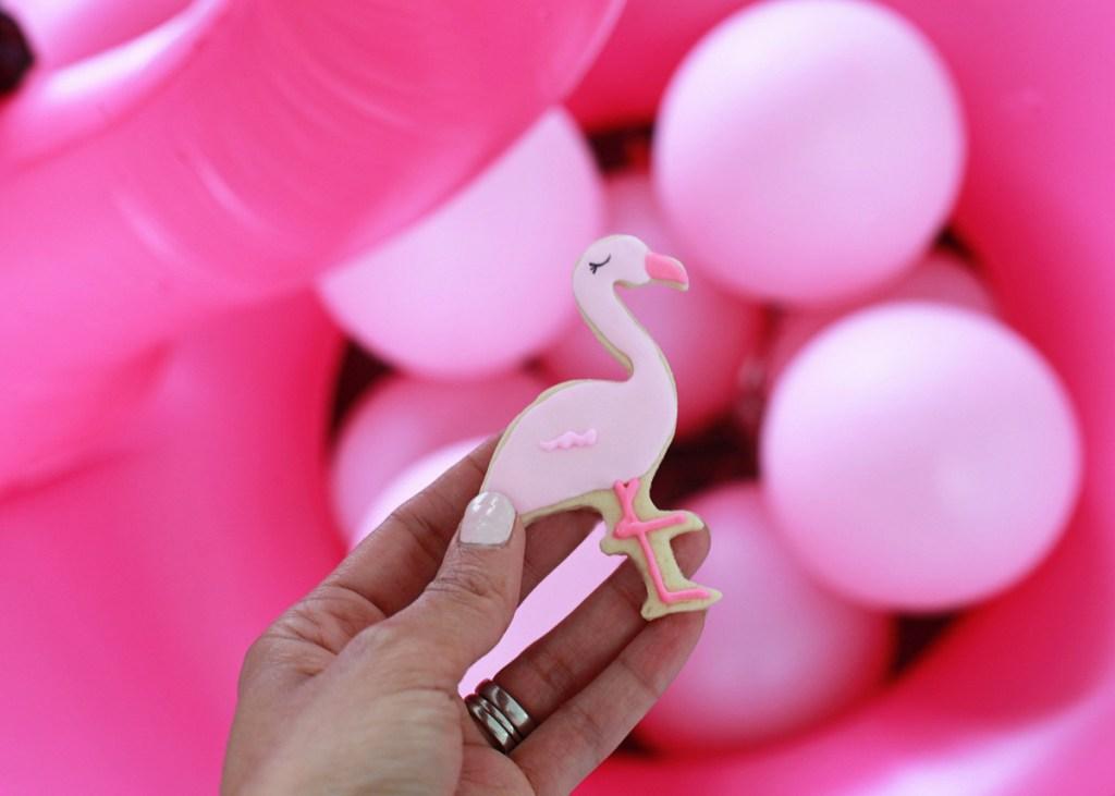 pink flamingo cookies & float