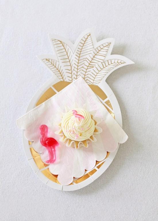 birthday cupcakes & pineapple plates
