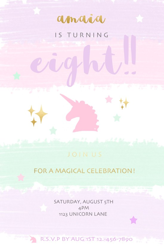 Kids invites unicorn