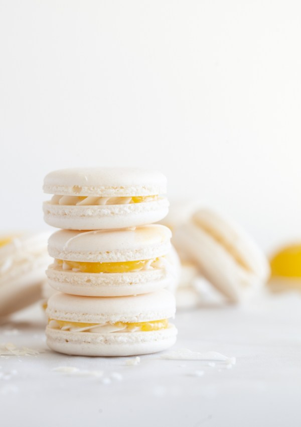 Coconut & Lemon Curd Macarons
