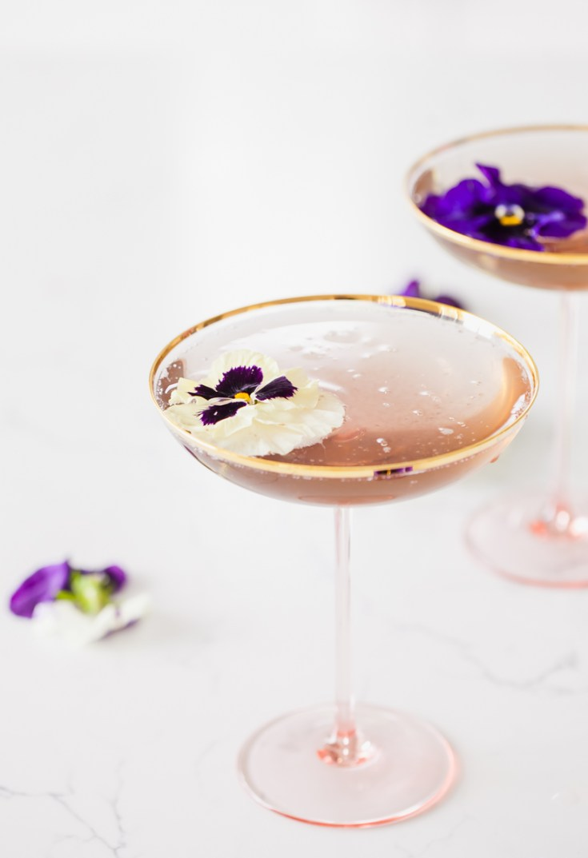 Spring Champagne Cocktail - Champs de Violette