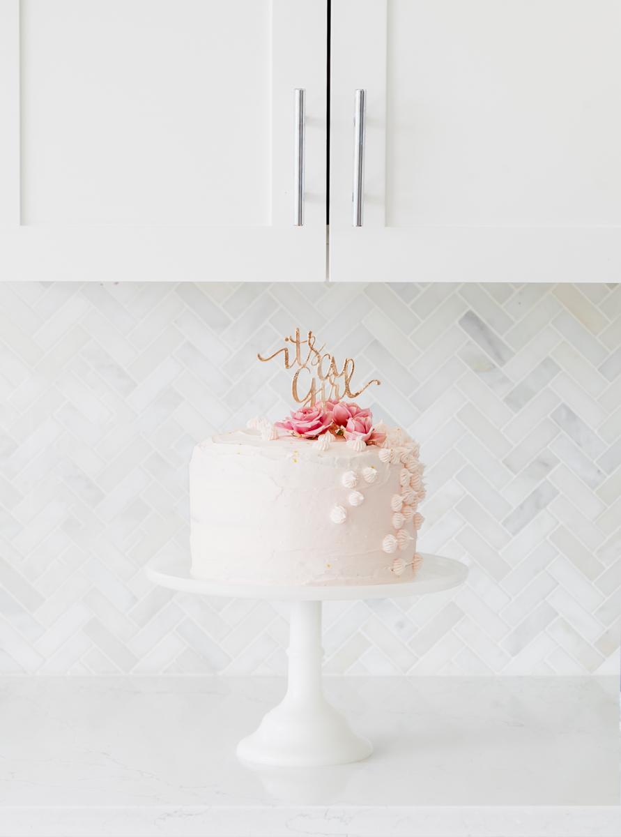 Pink Gold Baby Shower Cake - Baby Girl - Decor - Elegant