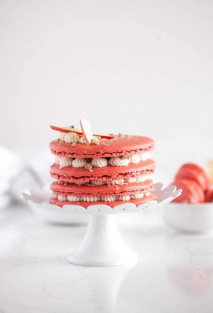 A recipe for apple crisp macarons and a macaron cake for fall dessert menus | Posh Little Designs
