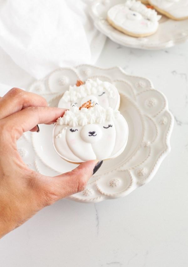 Llama Pumpkin Sugar Cookies