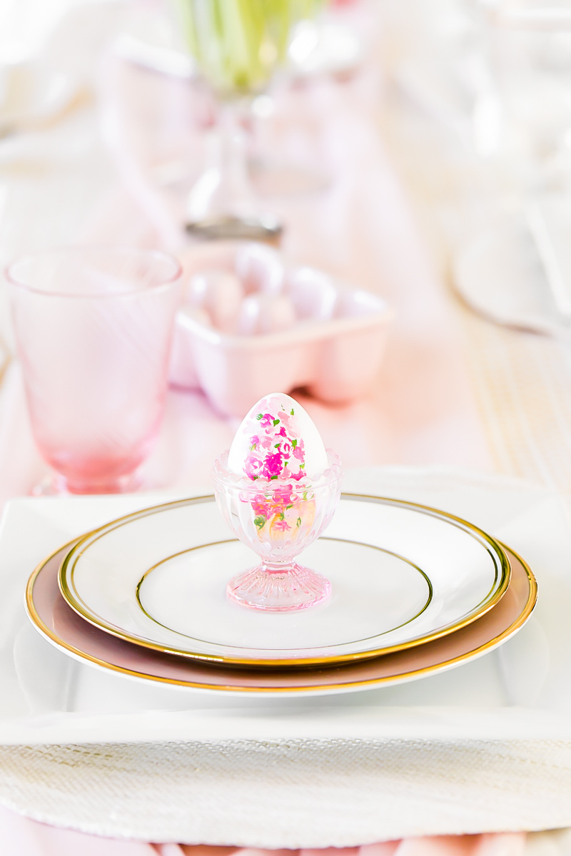 Easter entertaining at home - table settings DIY painted Easter eggs Posh Little Designs