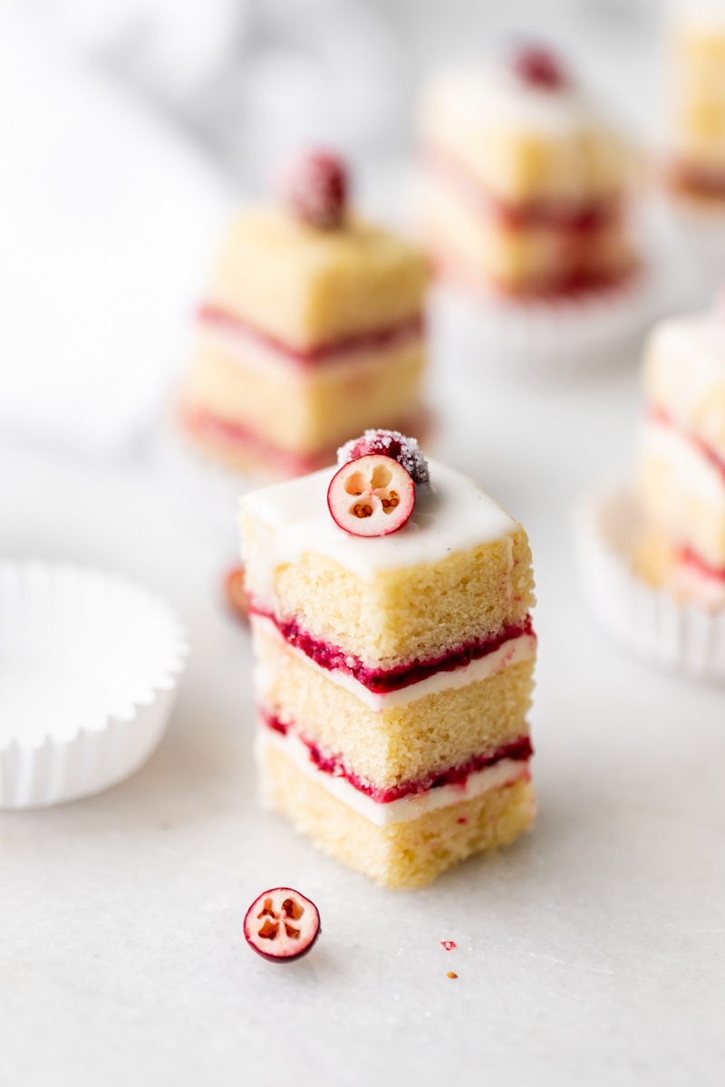 step by step recipe and instructions for cranberry vanilla bean petit fours. Dairy and gluten free