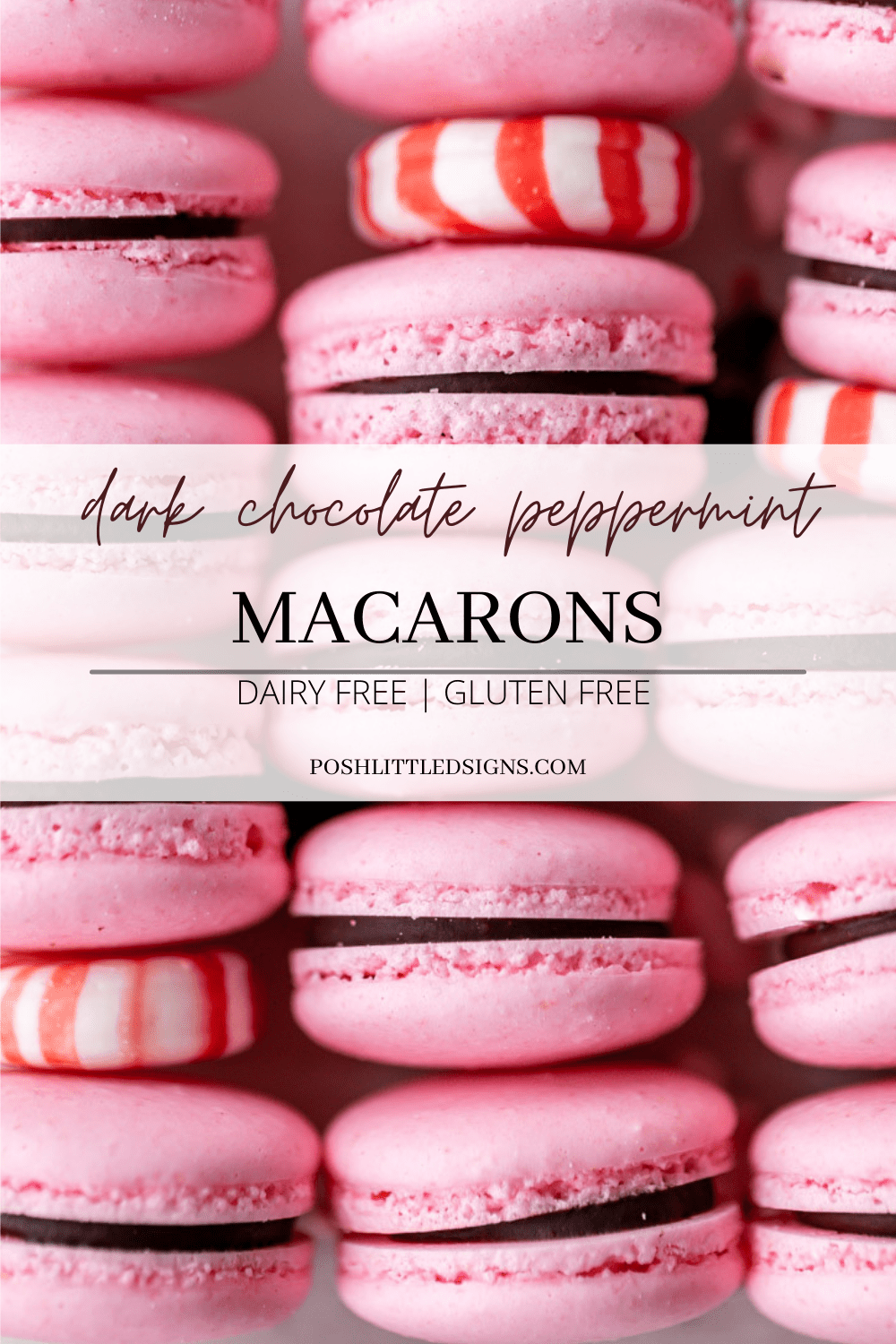recipe for chocolate peppermint French macarons with chocolate ganache for the holiday season.