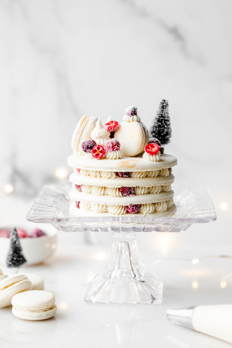 a recipe for cranberry vanilla macaron cake, for Christmas and the holidays dairy and gluten free