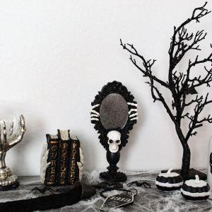 Halloween, Skulls, Black Tree, Key, Crystal Ball, Spider Web, Book of Spells, Mirror