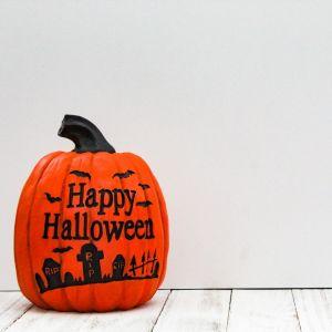 Halloween, Pumpkin, White Background, Horizontal Styled Stock Image