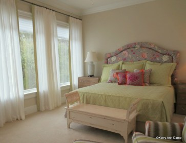 Linen Sheers with Border in Bedroom