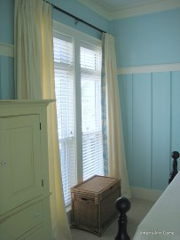 Cream Linen with Palm Print Border, Beach House