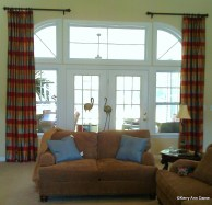 Arched Windows with Side Panels in Silk Plaid