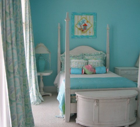Draperies Beach House Turquoise Bedroom