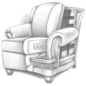 Cutaway Drawing of a well-padded chair