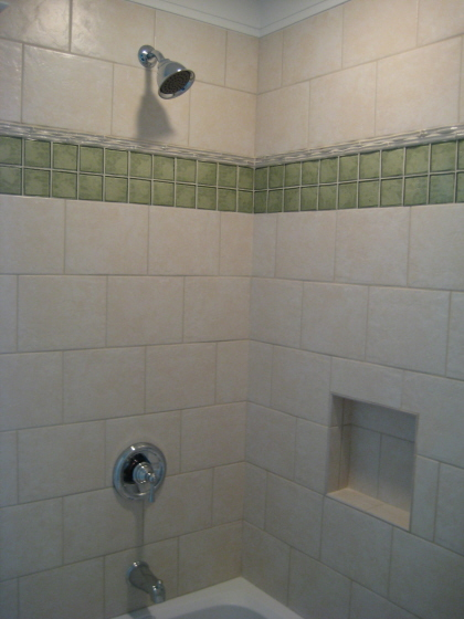 Glass Tile used as a border accent with porcelain
