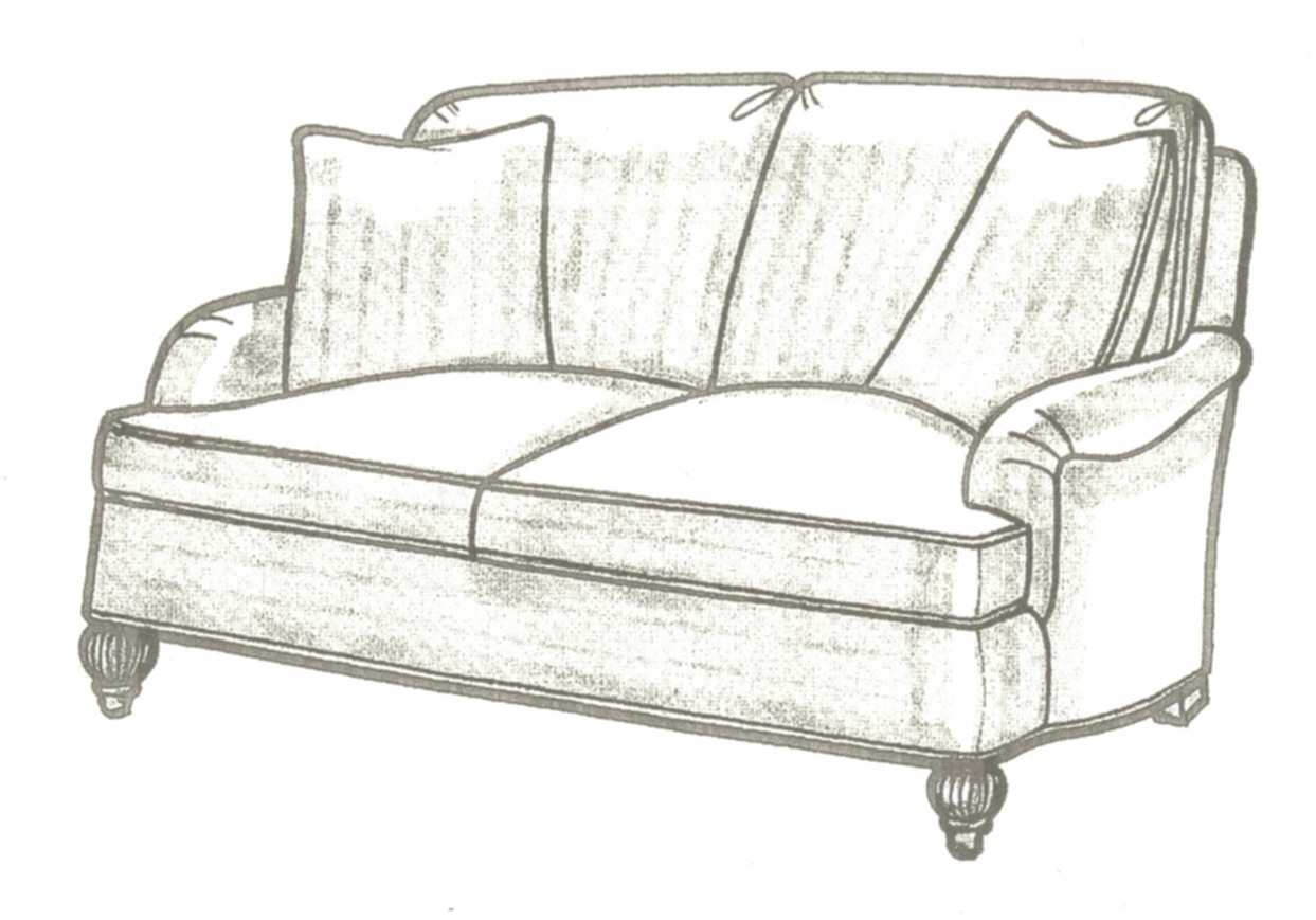 English Arm Sofa With Back Cushions