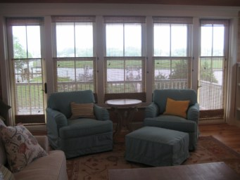 Beach house turquoise canvas slipcovers