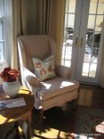 Slipcovered wing chair
