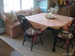 The client's shapely sofa was re-upholstered for comfortable kitchen seating
