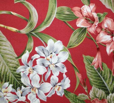 Pali Cherry Tropical Barkcloth Hawaiian Fabric