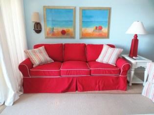 Red sunbrella sofa slipcover