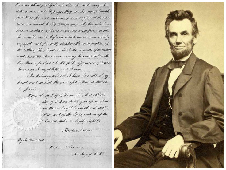 President Abraham Lincoln's signature, (left) on his Thanksgiving proclamation issued in 1863.
