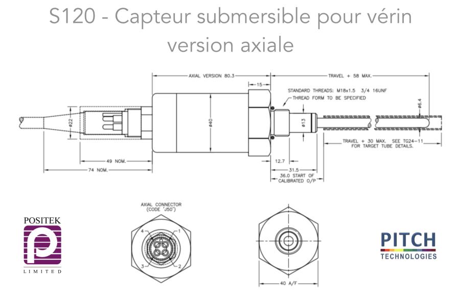 S120 Capteur submersible pour vérin version axiale