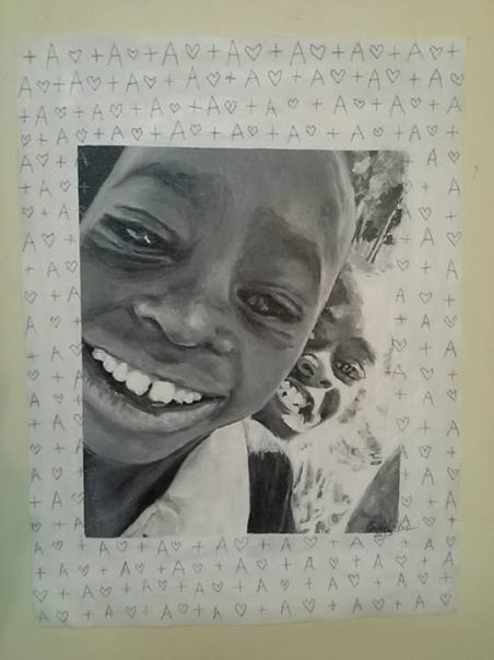 This painting is modeled off of a photo taken in July of 2013. It features two boys taking a photo of themselves and enjoying it! The two boys attend Kithoka Primary school, located just outside of Meru, Kenya. The school lacks everything needed for a proper education and student health.