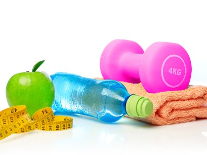 Towel, water bottle, weights tape fruit smaller
