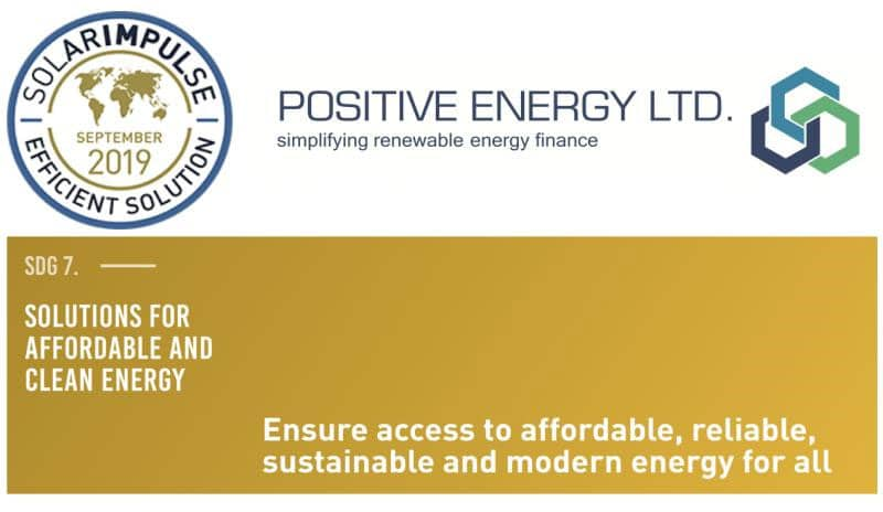 Positive Energy Ltd digital platform receives the Efficient Solution Label from the Solar Impulse foundation