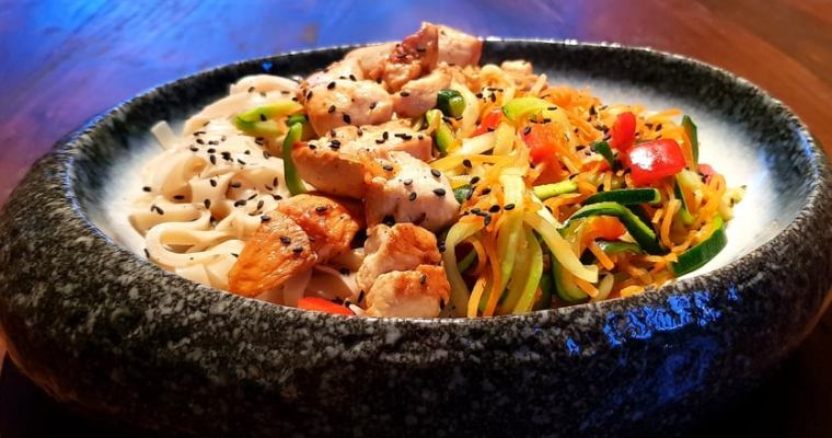 FODMAP Zoodles and Chicken Brown Rice Noodles