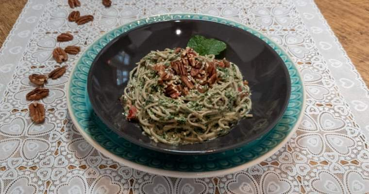 Low FODMAP Tahini en Spinazie Pasta
