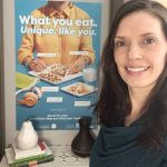 picture of Angela Hubbard, RD with Nutrition Month 2021 poster in background
