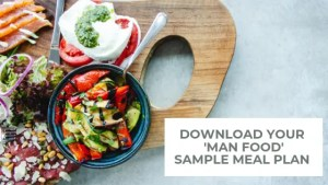 fresh food assorted on wooden board_sign up for free man food sample meal plan