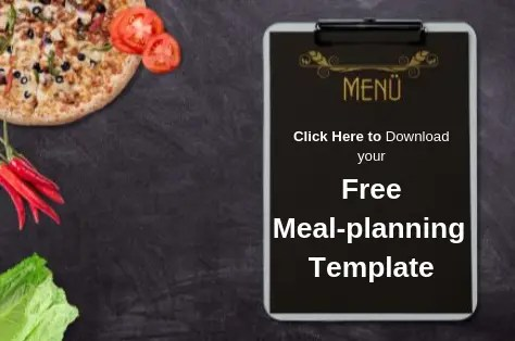 Menu clipboard beside pizza and veggies_Free meal-planning template download