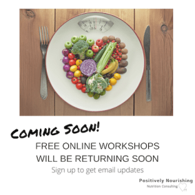 Coming soon free online workshops poster picture of fruits and veggies heart on plate scale