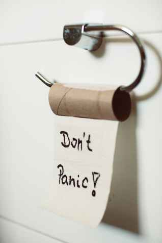 don t panic text on toilet paper