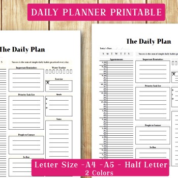 Daily Planner Set A4, A5, Letter and Half Letter