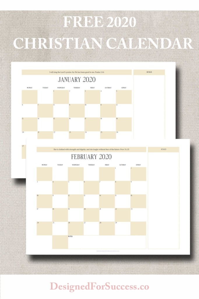 FREE 2020 Christian Calendar. Grab yours today and get organized and ready to crush your goals in 2020. Features monthly scripture to help keep your eyes on the Word.
