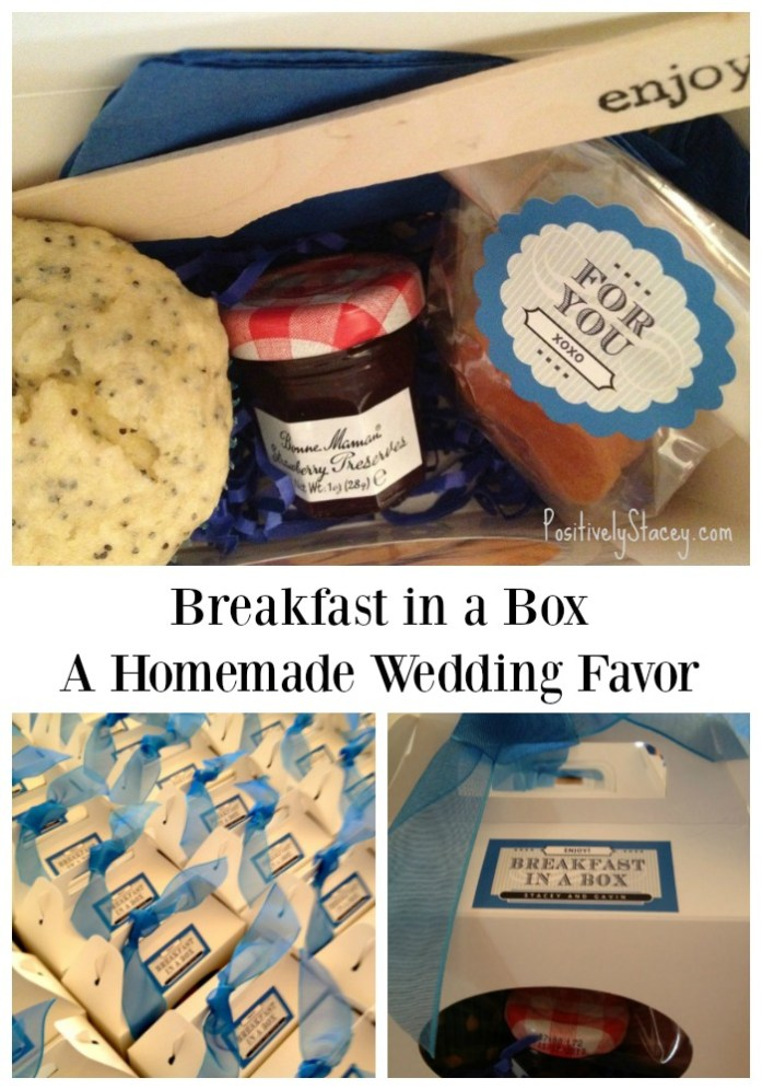 Breakfast in a Box - A homemade wedding favor includes a lemon poppyseed muffin, mini jars of jam, dried fruit, a knife, and napkin to keep everything neat.