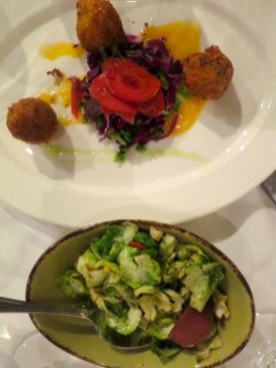 Brussels Sprouts and Crab and Lobster Beignets