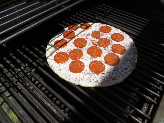 Jack's Pizza on the grill